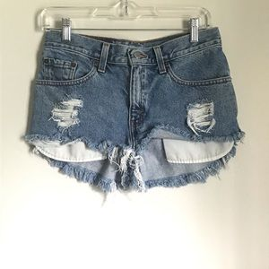 Levis Distressed Cut Off Jean Shorts